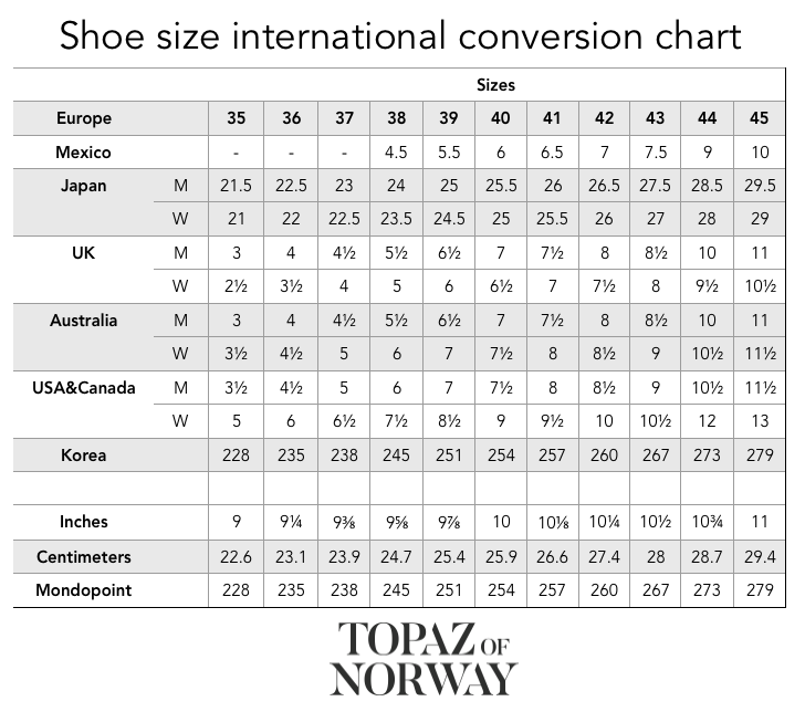 Shoe Size International Conversion Chart Topaz Of Norway Winter